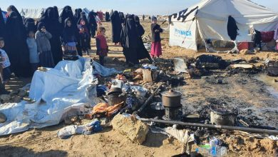 حريق داخل مخيم الهول واتهامات لنساء على صلة بتنظيم داعش بافتعاله