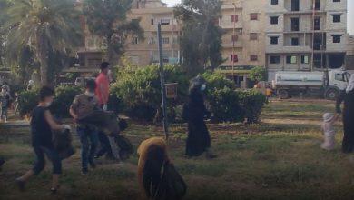 أطفال من ذوي الاحتياجات الخاصة يشاركون في حملة نظافة بحدائق الرقة